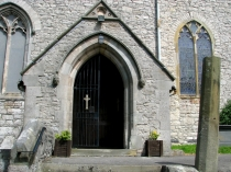 Picture of Porch and pillar of Henllan Church