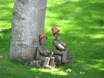 Picture of Flower Pot Men in a Garden in Bontnewydd