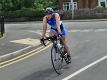 Picture of Cyclist in the  2012 Triathlon at Colwyn Bay
