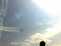 Picture of Red Arrows in formation above the Menai Straight